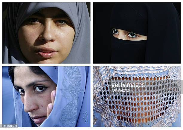 This combination of pictures created from AFP file images on June 19 2009 shows Muslim women wearing various type of Islamic veils a Hijab a Niqab a...