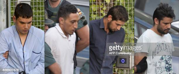 This combination of pictures created on August 22 2017 shows Mohamed Houli Chemlal Driss Oukabir Salah El Karib and Mohamed Aallaa suspected of...