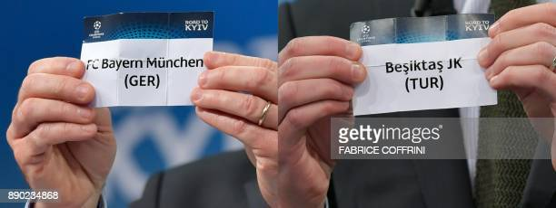 This combination of pictures created on December 11 2017 shows the slips of Bayern Munich and Besiktas JK during the draw for the round of 16 of the...