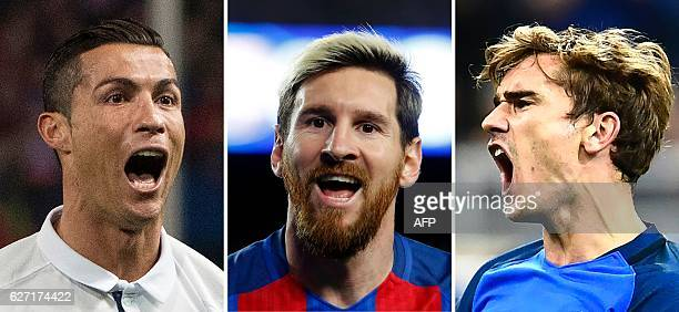 This combination of pictures created on December 2 2016 in Paris shows the three nominees for The Best FIFA Mens Player Award Real Madrid's...