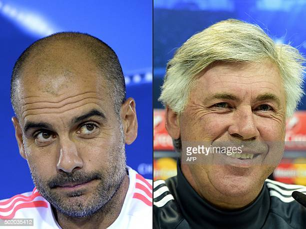 This combination of pictures created on December 20 2015 shows Bayern Munich's Spanish headcoach Pep Guardiola attending a news conference ahead of...