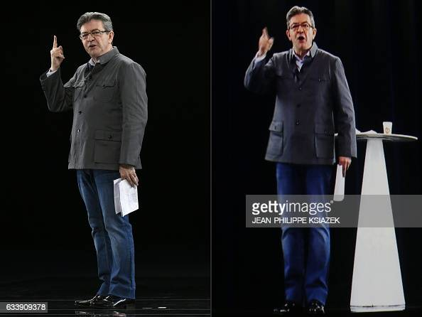 TOPSHOT This combination of pictures created on February 05 2017 shows French presidential election candidate for the farleft coalition La France...