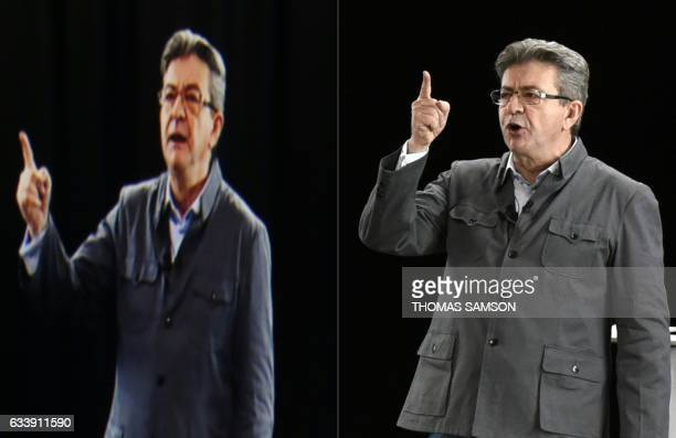 This combination of pictures created on February 05 2017 shows French presidential election candidate for the farleft coalition La France insoumise...