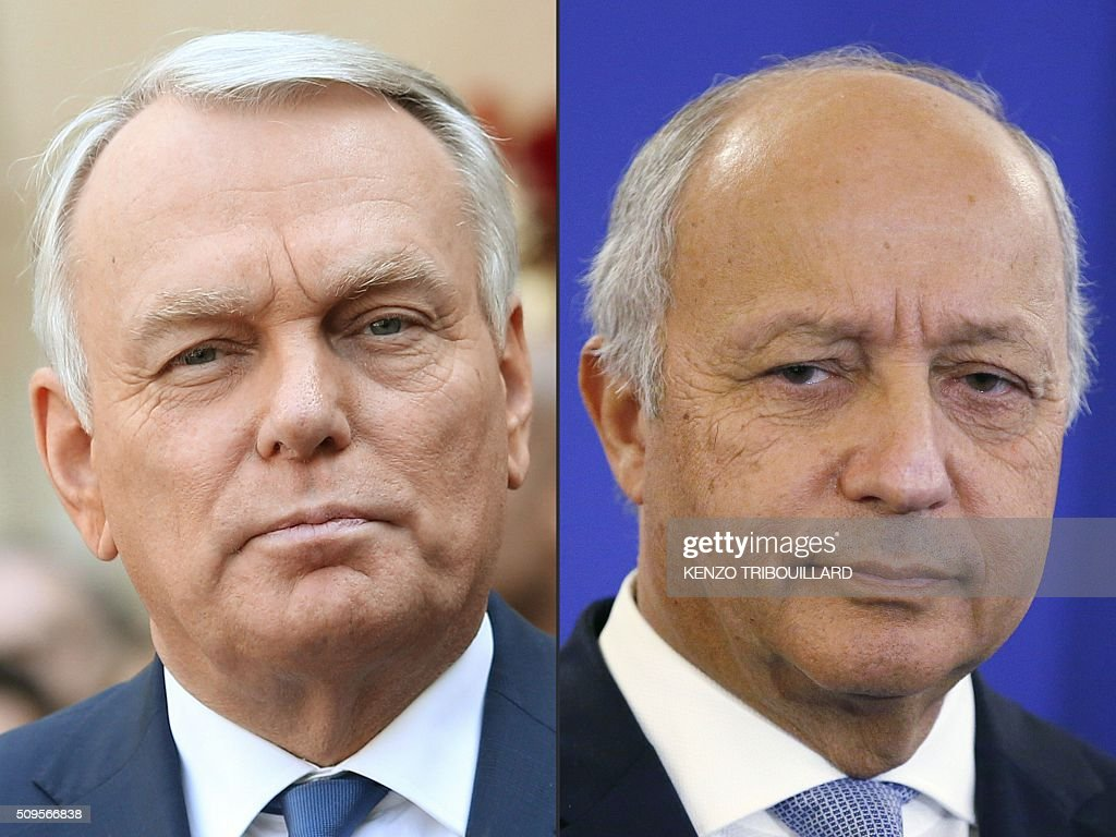 This combination of pictures created on February 11, 2016 shows former French Prime minister Jean-Marc Ayrault (L) on April 1, 2014 in Paris and French Foreign Affairs minister Laurent Fabius taken on January 11, 2016 in Paris. French President Francois Hollande has chosen former prime minister Jean-Marc Ayrault to take over as foreign minister replacing Laurent Fabius, several sources said on February 11, 2016. KOVARIK