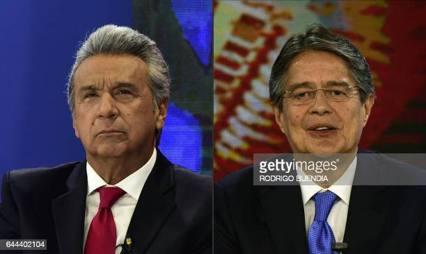 This combination of pictures created on February 22 2017 shows Ecuadorean presidential candidate for the governing 'Alianza Pais' Lenin Moreno and...