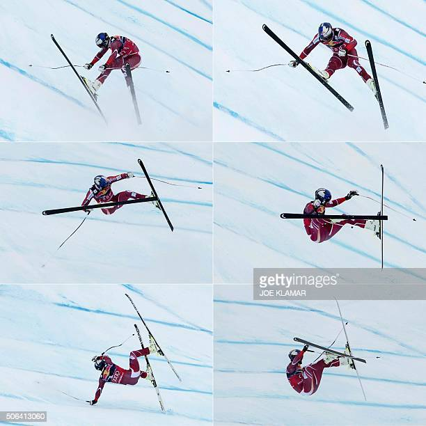 TOPSHOT This combination of pictures created on January 23 2016 shows Aksel Lund Svindal of Norway crashing as he competes during the men's downhill...