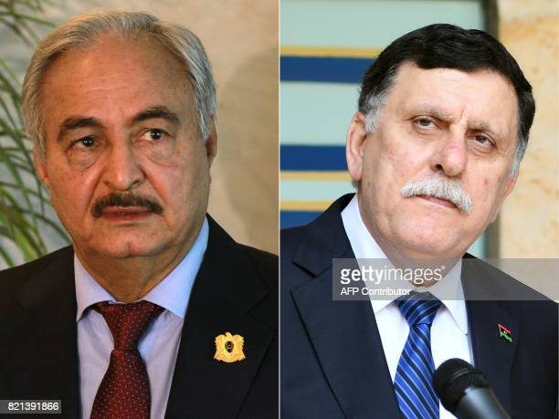 This combination of pictures created on July 24 2017 shows selfstyled Libyan National Army's chief Khalifa Haftar during a press conference in Amman...