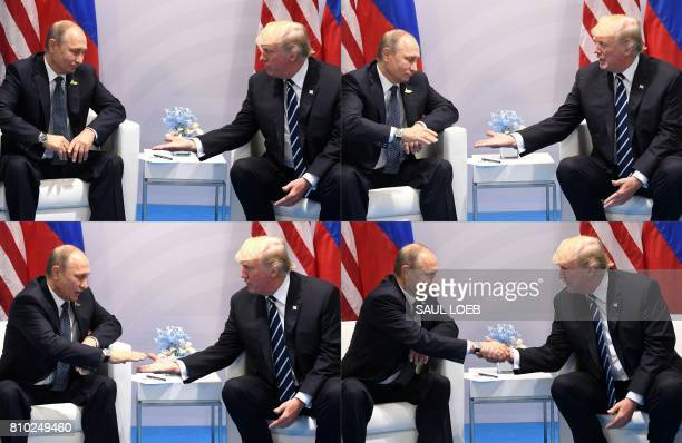TOPSHOT This combination of pictures created on July 7 2017 shows US President Donald Trump and Russia's President Vladimir Putin shaking hands...