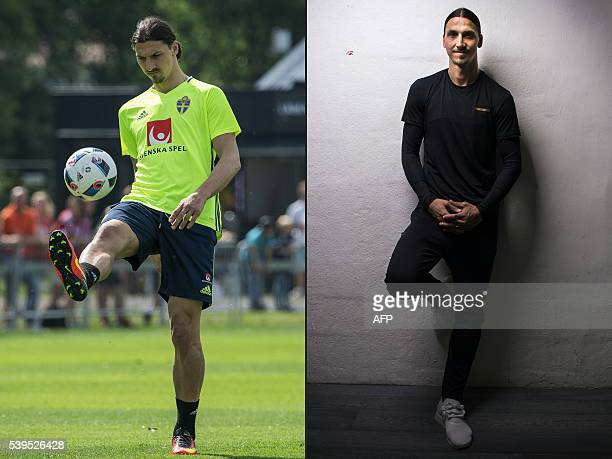 This combination of pictures created on June 12 2016 shows Sweden's forward and team captain Zlatan Ibrahimovic attending a training session in...