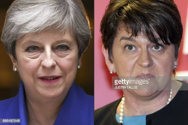This combination of pictures created on June 13 2017 shows Britain's Prime Minister and leader of the Conservative Party Theresa May leaving 10...