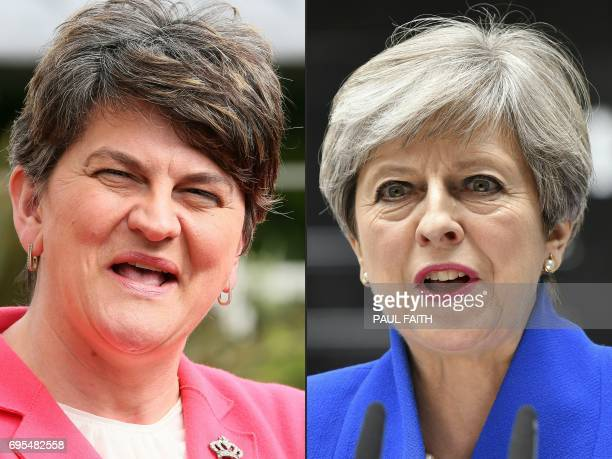 This combination of pictures created on June 13 2017 shows Democratic Unionist Party leader Arlene Foster addressing the media outside Stormont...