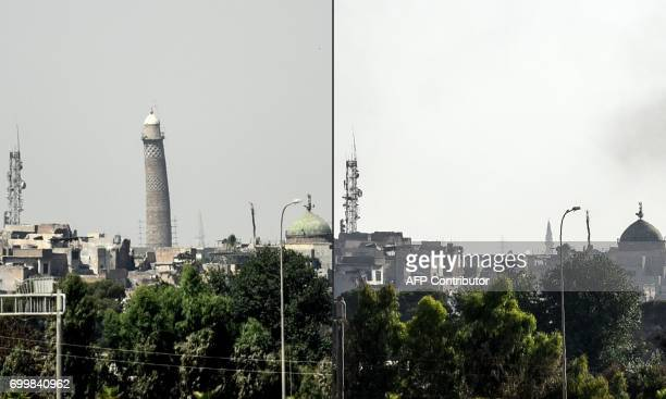This combination of pictures created on June 22 2017 shows a picture taken on June 20 of Mosul's leaning AlHadba minaret and a picture taken on June...