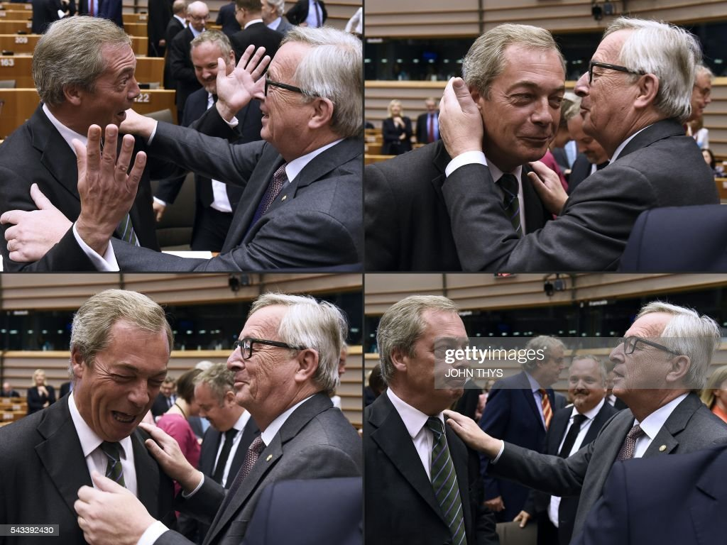This combination of pictures created on June 28, 2016 shows United Kingdom Independence Party (UKIP) leader Nigel Farage (L) reacting as he meets with European Union (EU) Commission President Jean-Claude Juncker ahead of a plenary session at the EU headquarters in Brussels on June 28, 2016. European Commission chief Jean-Claude Juncker called on June 28 on Prime Minister David Cameron to clarify quickly when Britain intends to leave the EU, saying there can be no negotiation on future ties before London formally applies to exit. THYS
