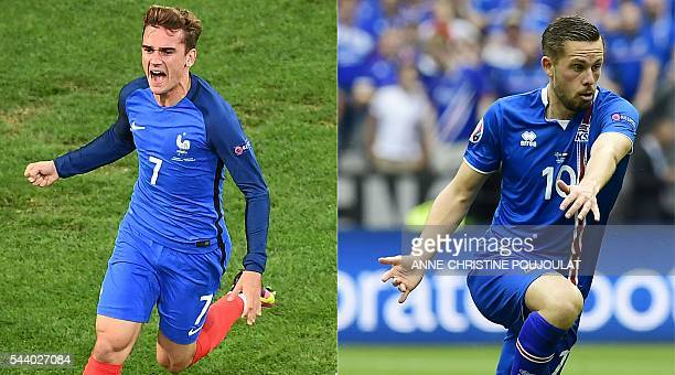 This combination of pictures created on June 30 2016 shows France's forward Antoine Griezmann celebrating after scoring during the Euro 2016 group A...