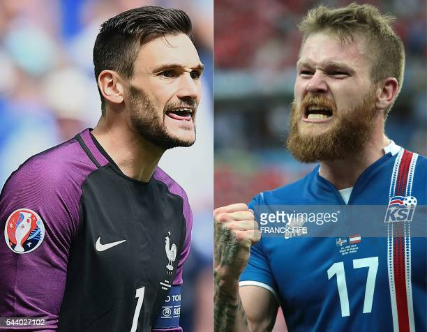 This combination of pictures created on June 30 2016 shows France's goalkeeper and team captain Hugo Lloris reacting during the Euro 2016 round of 16...