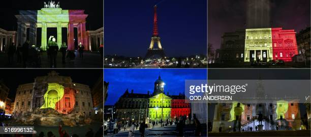 TOPSHOT This combination of pictures created on March 22 2016 shows colours of the Belgian flag being projected on to the Brandenburg Gate in Berlin...