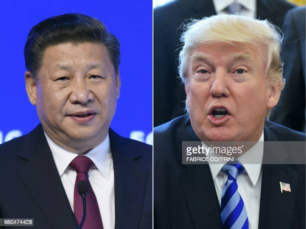 This combination of pictures created on March 30 2017 shows China's President Xi Jinping delivering a speech on the opening day of the World Economic...