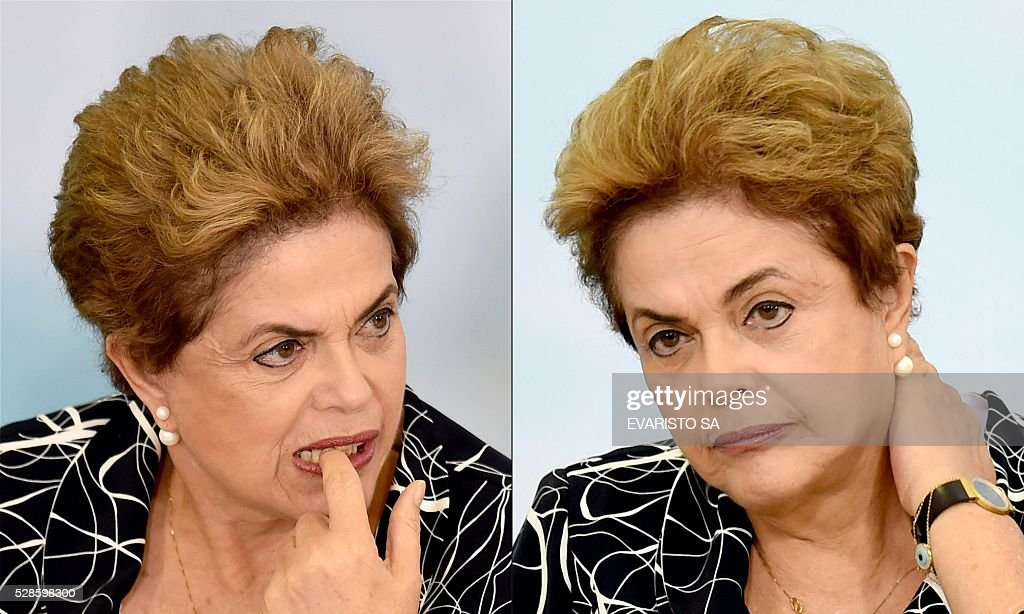 This combination of pictures created on May 06, 2016 shows Brazilian President Dilma Rousseff as she attends the launching ceremony of a new stage of the state-subsidized housing program at Planalto Palace in Brasilia on May 6, 2016. A special committee in Brazil's Senate was to vote Friday on whether to recommend starting an impeachment trial against President Dilma Rousseff who faces being suspended from office in less than a week. A special committee in Brazil's Senate was to vote Friday on whether to recommend starting an impeachment trial against President Dilma Rousseff who faces being suspended from office in less than a week. SA