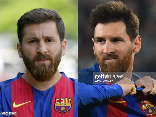 This combination of pictures created on May 08 2017 shows Reza Parastesh a doppelganger of Barcelona and Argentina's footballer Lionel Messi poses...