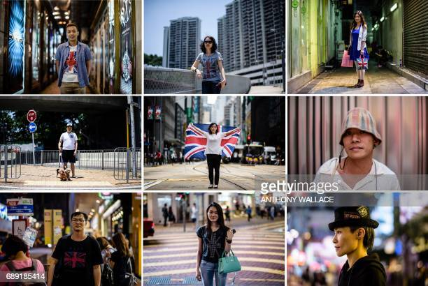 This combination of pictures created on May 28 2017 shows Hong Kong residents Mingo posing on May 24 Dora posing on May 27 Rema posing on May 24 Lok...
