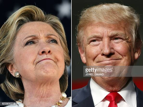 This combination of pictures created on November 03 2016 shows US Democratic presidential nominee Hillary Clinton in Dade City Florida on November 1...