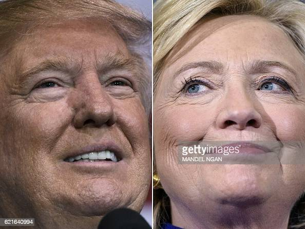 This combination of pictures created on November 07 2016 shows Republican presidential nominee Donald Trump in Delaware Ohio on October 20 2016 and...