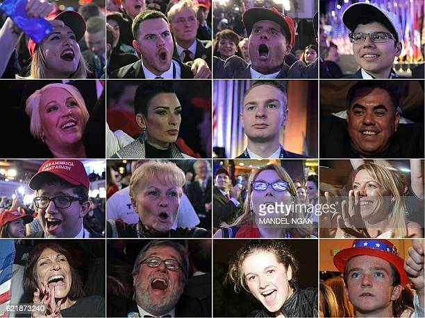 This combination of pictures created on November 09 2016 shows supporters of Republican presidential nominee Donald Trump reacting to early results...