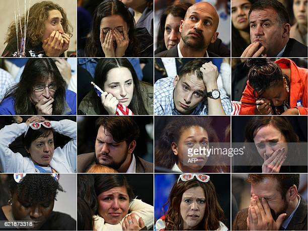 TOPSHOT This combination of pictures created on November 09 2016 shows supporters of Democratic presidential candidate Hillary Clinton reacting...