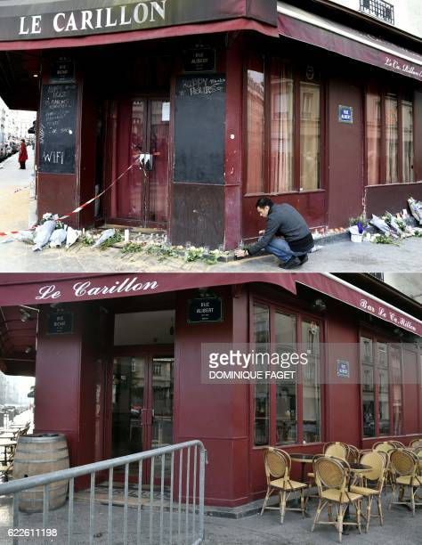 This combination of pictures created on November 12 2016 shows a file picture of a man laying candles in tribute to victims of the attacks at Le...