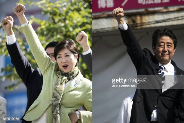 This combination of pictures created on October 19 2017 shows Tokyo Governor and leader of the Party of Hope Yuriko Koike gesturing at the end of her...