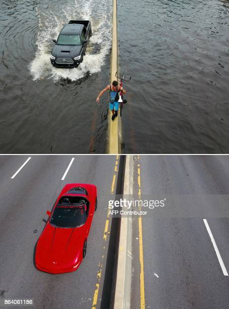 This combination of pictures created on October 20 2017 shows a man walking on a highway divider while carrying his bicycle in the aftermath of...