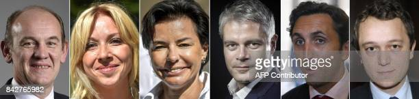 This combination of pictures created on September 05 2017 shows portraits of members of the France's rightwing Les Republicains party and candidates...