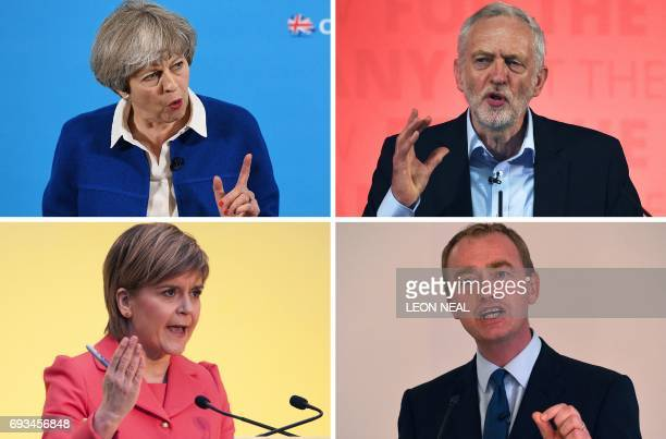 TOPSHOT This combination of pictures made on June 6 shows Britain's Prime Minister and Leader of the Conservative party Theresa May on May 30 2017 in...