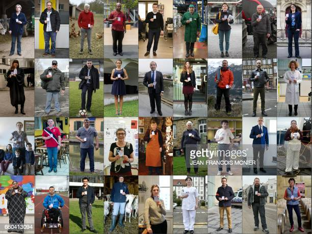TOPSHOT This combination of pictures made on March 29 2017 shows the 36 portraits of French citizens constituting an AFP photo project of short...