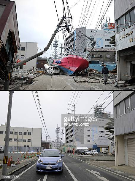 This combination of pictures shows a boat washed on to a street by the March 11 tsunami in Ishonomaki Miyagi prefecture on March 15 2011 and the same...