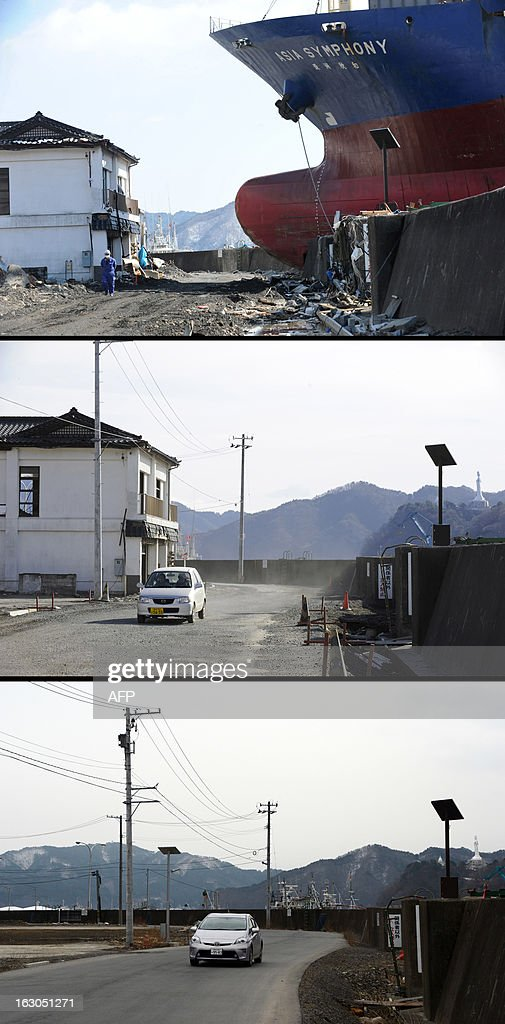 This combination of pictures shows a ship called Asia Sympathy run aground by the March 11 tsunami in Kamaishi, Iwate Prefecture, on March 18, 2011 (top) and the same area on January 16, 2012 (C) and then nearly two years later on February 18, 2013 (bottom). March 11, 2013 will mark the second anniversary of the massive tsunami that pummelled Japan, claiming some 19,000 lives. AFP PHOTO / ROSLAN RAHMAN (top) AFP PHOTO / TORU YAMANAKA (C) AFP PHOTO / TOSHIFUMI KITAMURA