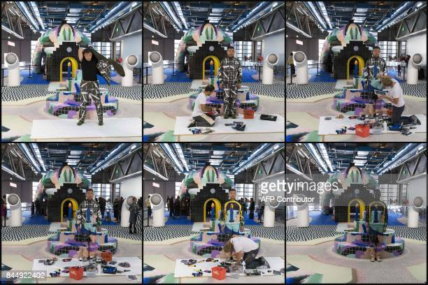 This combination of pictures shows Chinese artist Liu Bolin during a performance with a 'Galerie Party' set created by designers Gaelle Gabillet et...