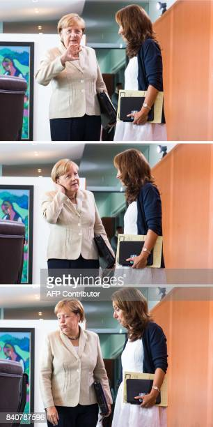 This combination of pictures taken on August 30 2017 at the Chancellery in Berlin shows German Chancellor Angela Merkel talking with German State...