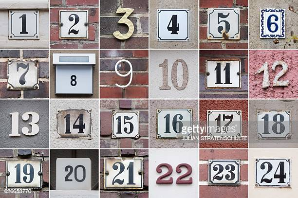 This combination of pictures taken on November 30 2016 shows house numbers from 1 to 24 on houses in the Suedstadt district of Hanover central...