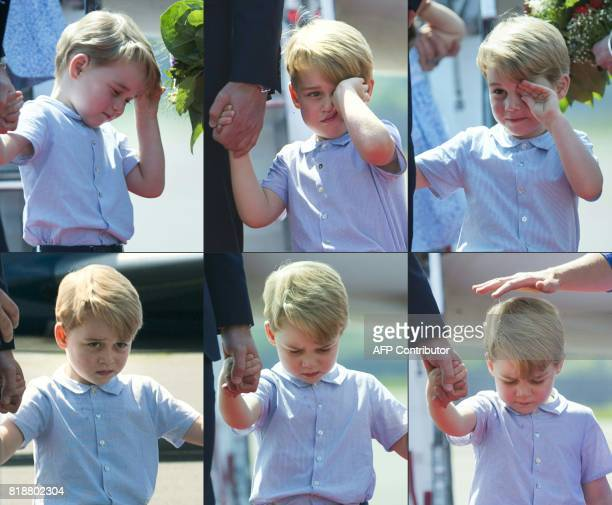 TOPSHOT This combination of six pictures created on July 19 2017 shows Britain's Prince George holding the hand of his father Prince William Duke of...