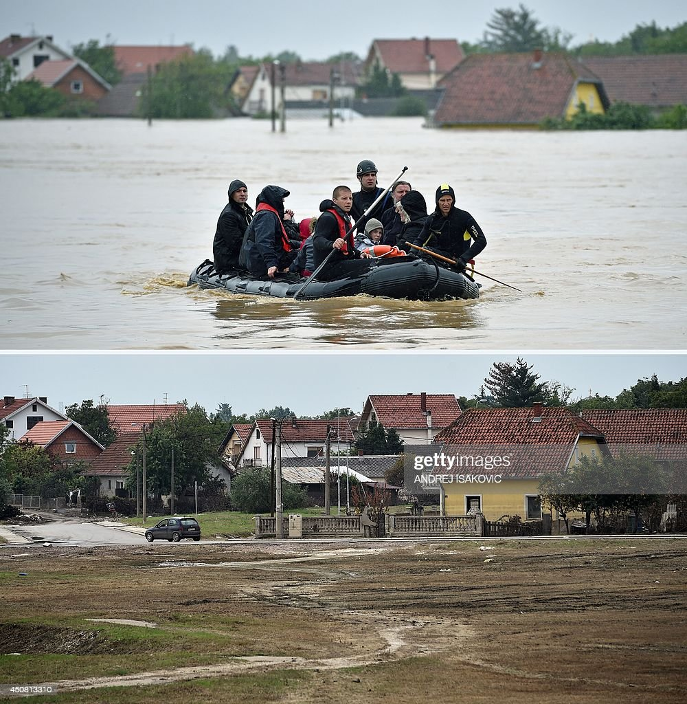 This combination of two pictures shows on top Serbian rescuers evacuating people from their flooded homes on a boat in the town of Obrenovac 40...