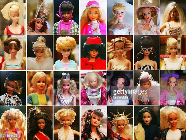 This combination photo shows the he toy doll Barbie in her various incarnations at Leuralla NSW toy and railway museum as the iconic doll approaches...