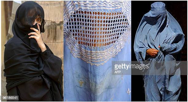 This combination picture created from AFP file images on June 19 2009 shows Muslim women wearing a Niqab and Burqa's in India and Afghanistan The...
