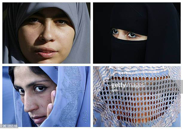 This combination picture created from AFP file images on June 19 2009 shows Muslim women wearing a Hidjab a Niqab a Tchador and a Burqa The French...