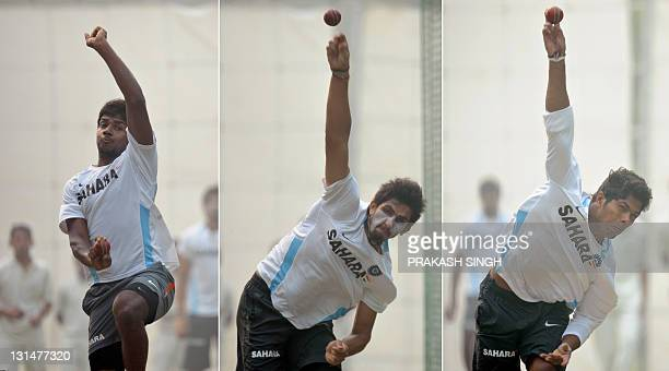 This combination picture of threee photographs show Indian cricketers Varun Aaron Ishant Sharma and Umesh Yadav bowling in the nets during a training...