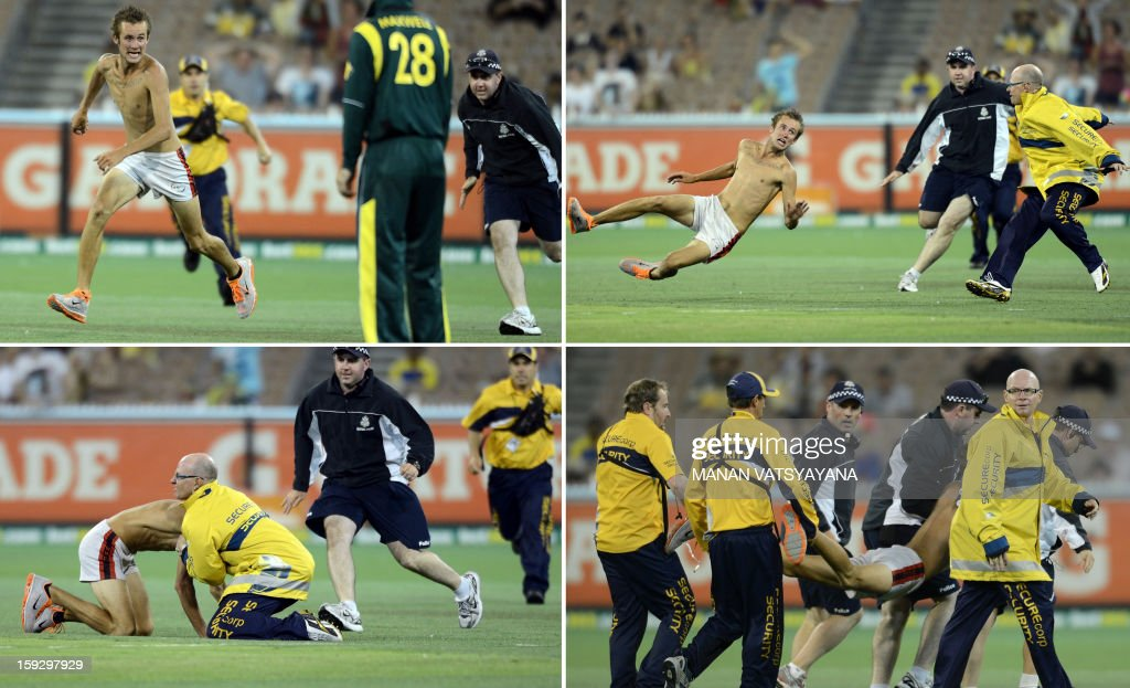 This combination picture shows a pitch-invader running on the ground before being caught by ground security personnel during the first one-day international between Australia and Sri Lanka at the Melbourne Cricket Ground on January 11, 2013. AFP PHOTO/ MANAN VATSYAYANA USE