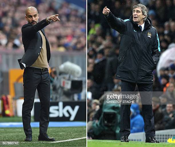 This combination picture shows Bayern Munich's Spanish headcoach Pep Guardiola and Manchester City's Chilean manager Manuel Pellegrini gesturing...