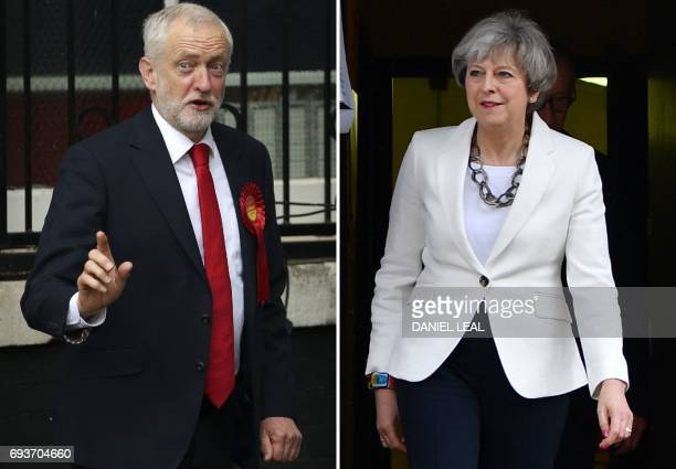This combination picture shows opposition Labour party leader Jeremy Corbyn voting in north London and British Prime Minister Theresa May voting in...