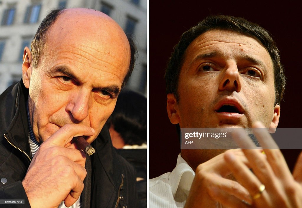 This combo image of file pictures shows Italian centre-left Democratic Party chief Pier Luigi Bersani (L) and Florence's mayor Matteo Renzi. Italian centre-left Democratic Party chief Pier Luigi Bersani is set on November 26, 2012 for a run-off vote the week after against young pretender Matteo Renzi, after millions of supporters chose their nominee for next year's general election. AFP PHOTO / FILES / OLIVIER MORIN / ALBERTO PIZZOLI