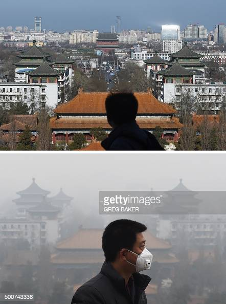 This combo image of two photographs taken on December 10 2015 and two days earlier on December 8 shows men looking at the view on clear and cloudy...